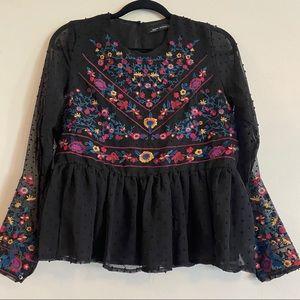 Boho Peplum Blouse w/ Swiss Dots Floral Embroidery